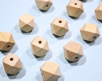 Wooden bead / geometric 10 Pieces