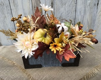 Fall Arrangement in a Primitive Wood Box with Metal Hardware, Pumpkin Centerpiece, Thanksgiving Table Arrangement, Wedding, FAAP, Autumn