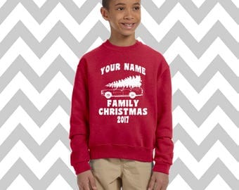 Custom Griswold Family Christmas Youth Unisex Sweatshirt Snowman Sweatshirt Ugly Christmas Sweater Kids Christmas Sweater Holiday Party Tee