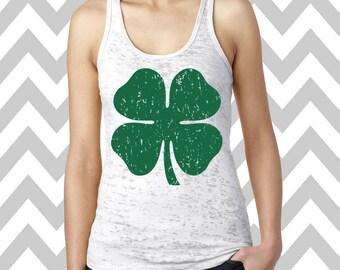 St. Patrick's Day Shamrock Ladies Burnout Tank Workout Tank Top Fitness Shirt Clover Irish Tank Top Burnout Out Workout Tank Top