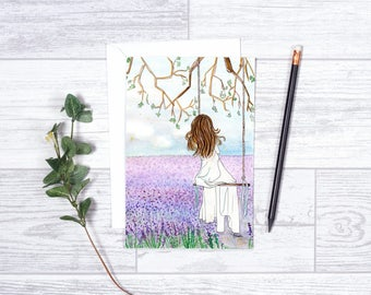 """Lavender Dreams - Note Cards - Gifts for her - 4""""x6"""" - Individual - Dream - Summer Evenings -She Believed - Encouragement - Purple Lavender"""