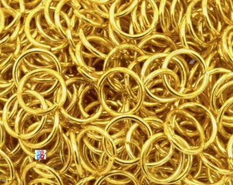 Ø6mm/ø5/o4mm EP gold jump rings 0.7 in packs of 100/200/500 units