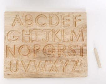 uppercase alphabet tracing board, wooden, montessori, handwriting