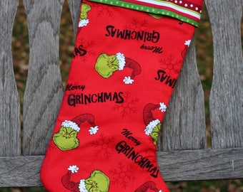 Red Grinch Christmas stocking, Merry Grinchmas Christmas stocking