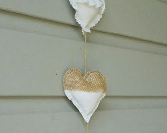 Romantic country fabric hearts Garland