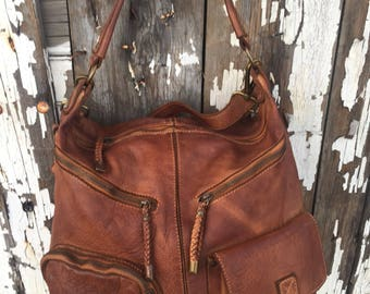 Soft Cognac Distressed Hobo Bag with Pockets
