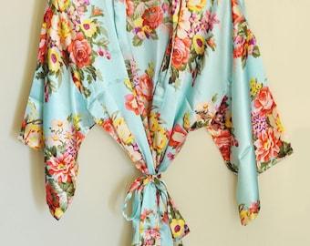 Floral bridesmaid robes, bridesmaid gifts, satin robes, bridal robes, wedding gifts, getting ready robes, bridal party robes, kimono