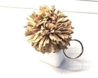 Champagne Leather Pompom,Pompom Key Fob,Pompom Keychain,Keychain,Pompom Clip,Leather Keychain,Pompom, Key Fob, Tote Clip,Purse Clip,Vanilla