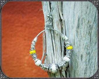 White-yellow-silver Boho Stainless Steel Creoles