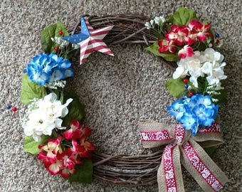Patriotic Wreath with flowers American, Independence Day