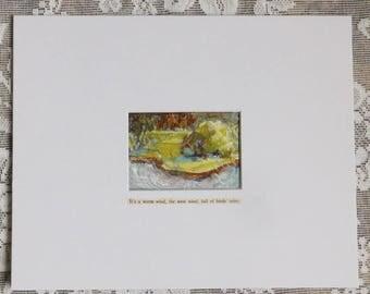 Pond Painting, pond landscape, original art, watercolor, pastel, Outer Banks, Kill Devil Hills, antique text