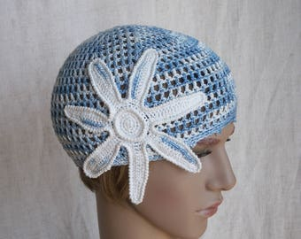 Crochet summer hat for women or teen-girl, blue net-like beach cap, blue-white floral beanie, sun hat for lady