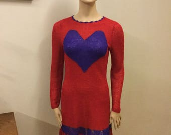 Authentic  handmade knitting red dres with heart, size 38 (M)
