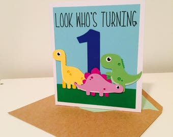 Dinosaur Birthday Card, First Birthday Card, Dinomite Birthday, Number Birthday Card,