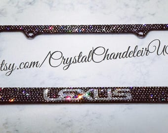 LEXUS Swarovski Crystal Blinged License Plate Frame, Charcoal/White. *FREE SHIPPING*