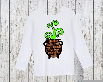 Double Double Toil and Trouble Fire Burn and Cauldron Bubble Halloween Shirt