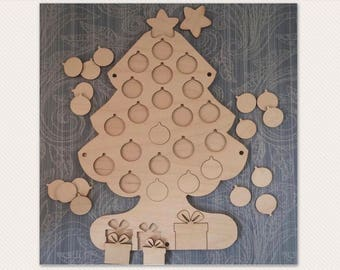 Handpainted MDf Christmas Tree Advent Countdown Calender