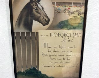 Art Deco 1930s or 1940s To a Thoroughbred Dad Wall Print