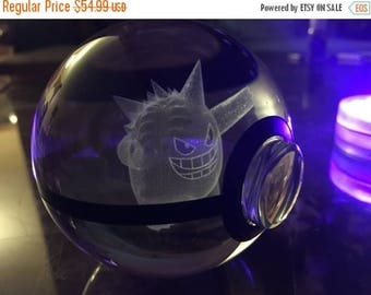 Sale Crystal Glass 3D Laser Engraved Pokeball (Gengar)