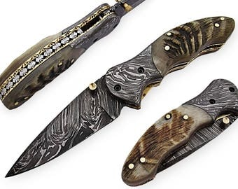 100% handmade Damascus steel with special handle Liner Lock pocket folding knife/pliant Damas /Damaskus Falten 4023