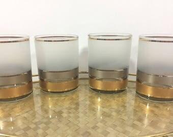Culver Glassware Set of 4, Vintage Glassware, Vintage Barware, Gold Striped Culver Glasses, Mid Century Barware, Mad Men