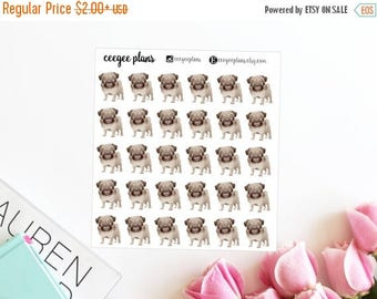 SALE Pug Planner Stickers | 30 Dog Stickers for ANY Planner