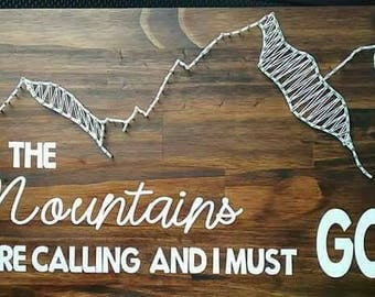 Mountains nail string art sign with vinyl decals