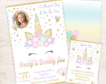 Unicorn Invitation, Magical Birthday Invitation, Printable Birthday Invitation
