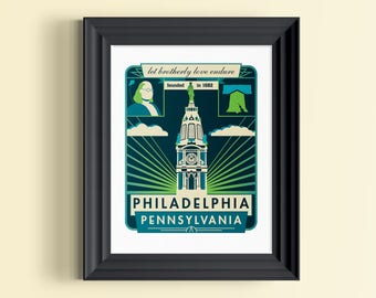Philadelphia art | Philadelphia skyline | Philadelphia poster | Philadelphia print | Philadelphia wall art | Philadelphia wall decor