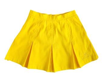Y2K Bright Sunflower Yellow Box Pleat Mini Sport Tennis Skirt (Women's Size Small)