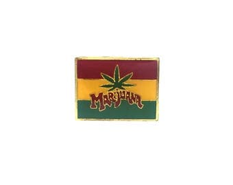Marijuana Pin Metal Enamel Flag Leaf