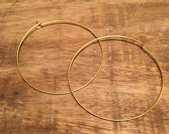 Thin Gold Hoop Earrings | Ultra Thin Gold Hoops | Delicate Hoop Earrings, Minimalist Hoops, 2 Inch Hoops
