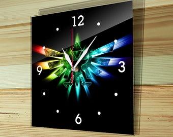 Wall glass clock, zelda clock, wall clock, legend of zelda, ocarina of time, majoras mask bifold, Geek, Triforce, Link, Princess Zelda, Z-02