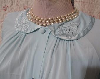 VTG Nightgown Medium Style 7080 Robe Gossard Artemis Nylon Blue flower detail soft silky nylon