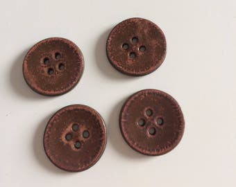 Orange effect pink ceramic buttons, handmade buttons.