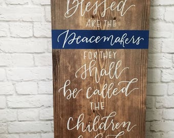 Blessed are the Peacemakers Sign // Matthew 5:9 // Police Officer Gift