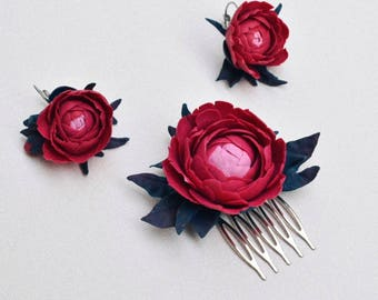 Wedding hair comb and earrings color Marsala, wedding accessories