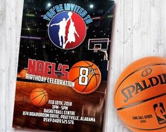 Basketball Invitation Card, Birthday Card, Basket, NBA, Party Card, Spalding, Sport