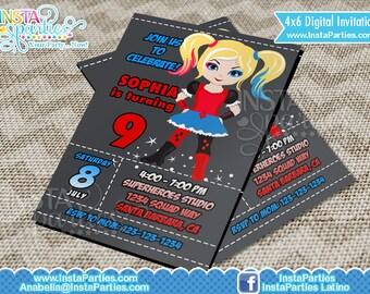 Harley Quinn Invitations / Superhero girl Invitation suicide squad villains villain invites digital super superheroes girl digital printable