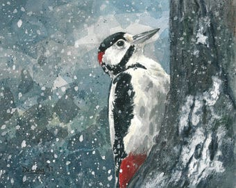 Spotted Woodpecker - Watercolor Print - Winter Bird - Art Print - Watercolor - Bird Print