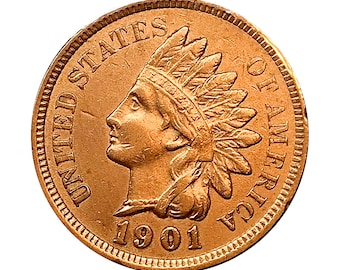 1901 Indian Head Cent - AU / BU - 3 1/2 Diamonds