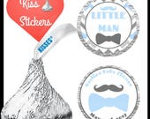 108 little man baby shower kiss stickers Favors printed .75 inch