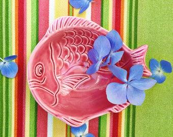 Vintage Ceramic Fish Trinket Dish, Fish Dish, Pink Fish Ceramic, Vintage Nautical Decor, Vintage Lake House Decor