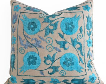 Silk Hand Embroidered Suzani Pillow Beige Blue Pillow Covers Decorative Throw Pillow Cover, Blue Cushion Covers, Blue Pillow covers