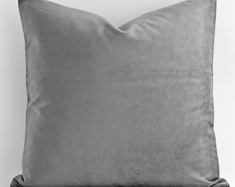 20x20 24x24 Grey Velvet Pillow Cover, Decorative Pillow, Throw Pillow, Both Sides, throw pillows, decorative pillows for couch, decorative