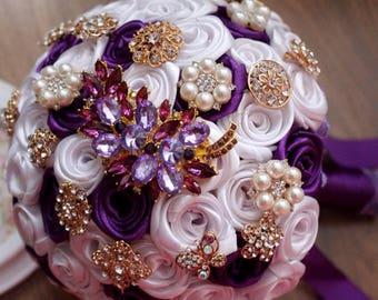 Purple Brooch Bouquet Fabric Gold Wedding Bridal Bride