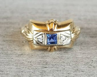 14k yellow gold vintage ring with synthetic sapphire