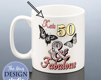 50th Birthday 50 & Fabulous Personalised Mug Butterfly BIRTHDAY GIFT 1967 Gift for her Present Friend Mum Mom Nan Women Ladies Coffee Mug