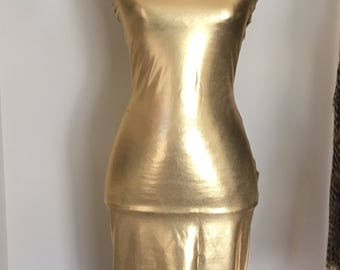 Gold metallic tube dress