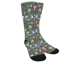 Gir Socks - Invader Zim Socks Robot Dog Socks Alien Socks Irken Socks Cartoon Socks Comicon Socks Invader Socks Trouser Socks Sci-Fi Socks